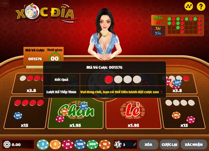 Giao diện game xóc đĩa online